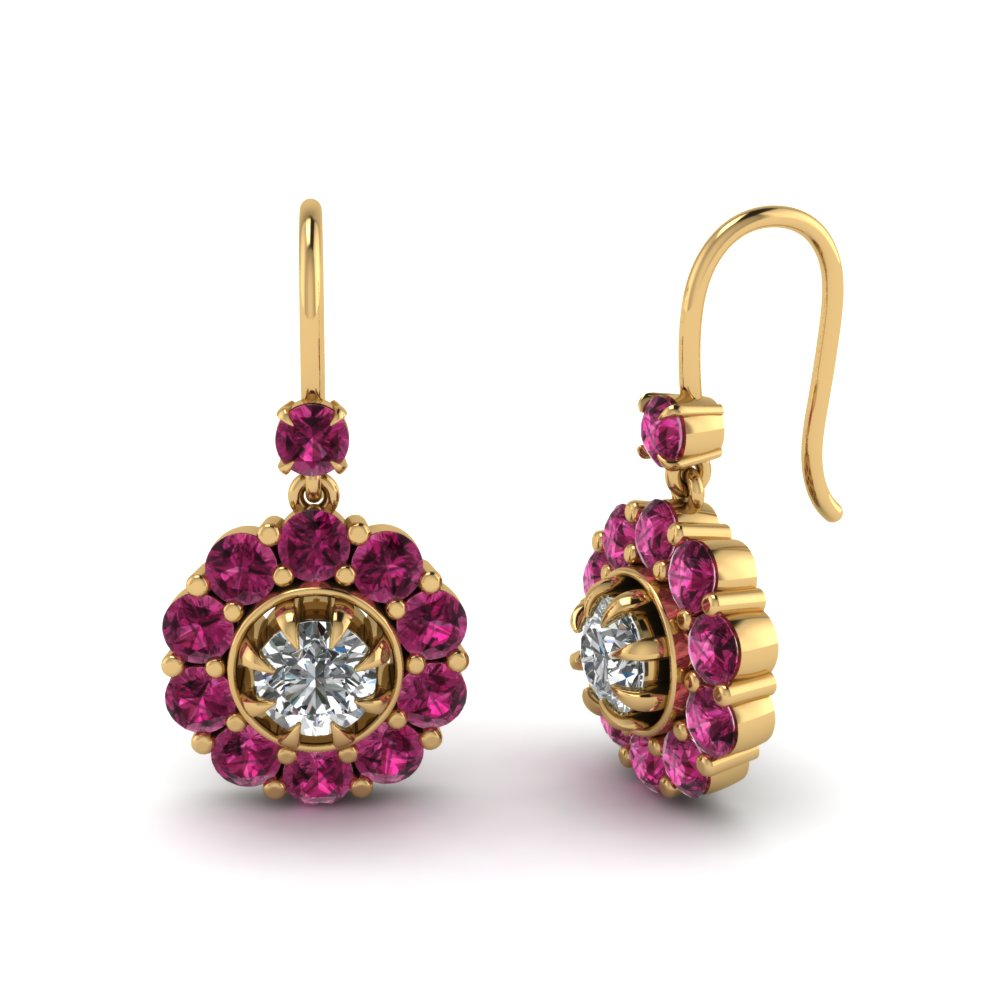 floral-diamond-dangle-earring-with-pink-sapphire-in-FDEAR1128GSADRPI-NL-YG