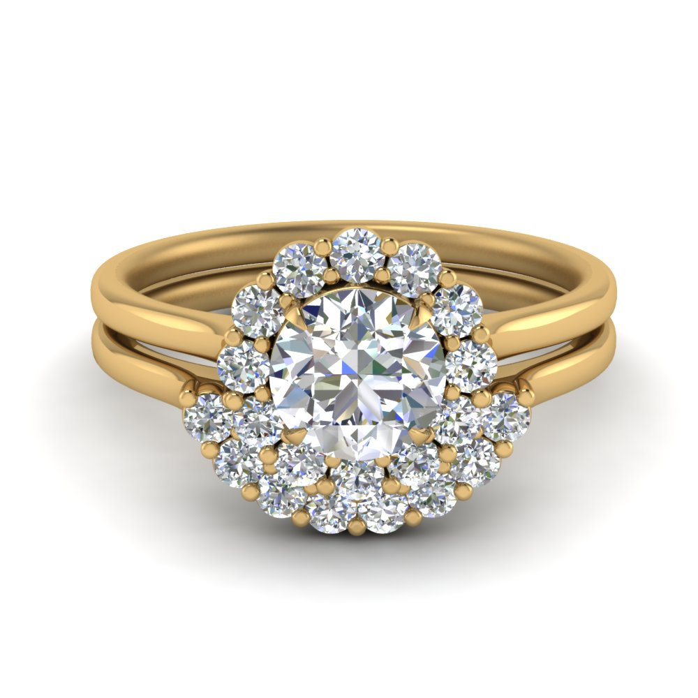 Floral Diamond Ring With Contour Band