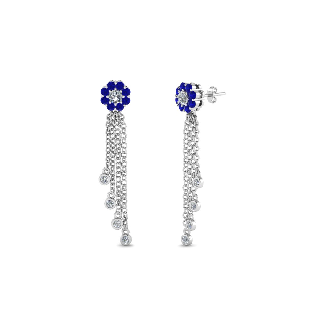 Tassel Earring With Sapphire