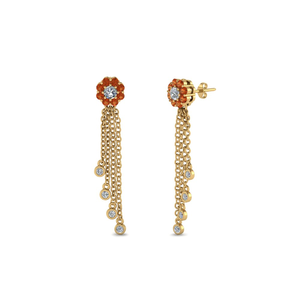 Floral Diamond Tassel Earring