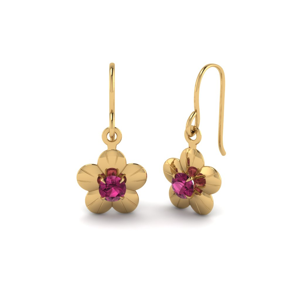 floral drop pink sapphire dangle earring in 14K yellow gold FDEAR19234GSADRPI NL YG