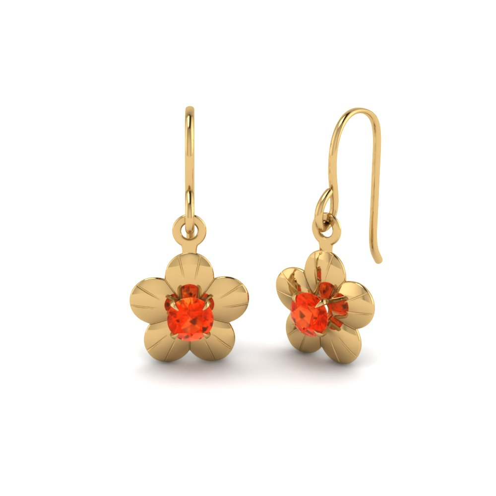 Flower Orange Topaz Drop Earring