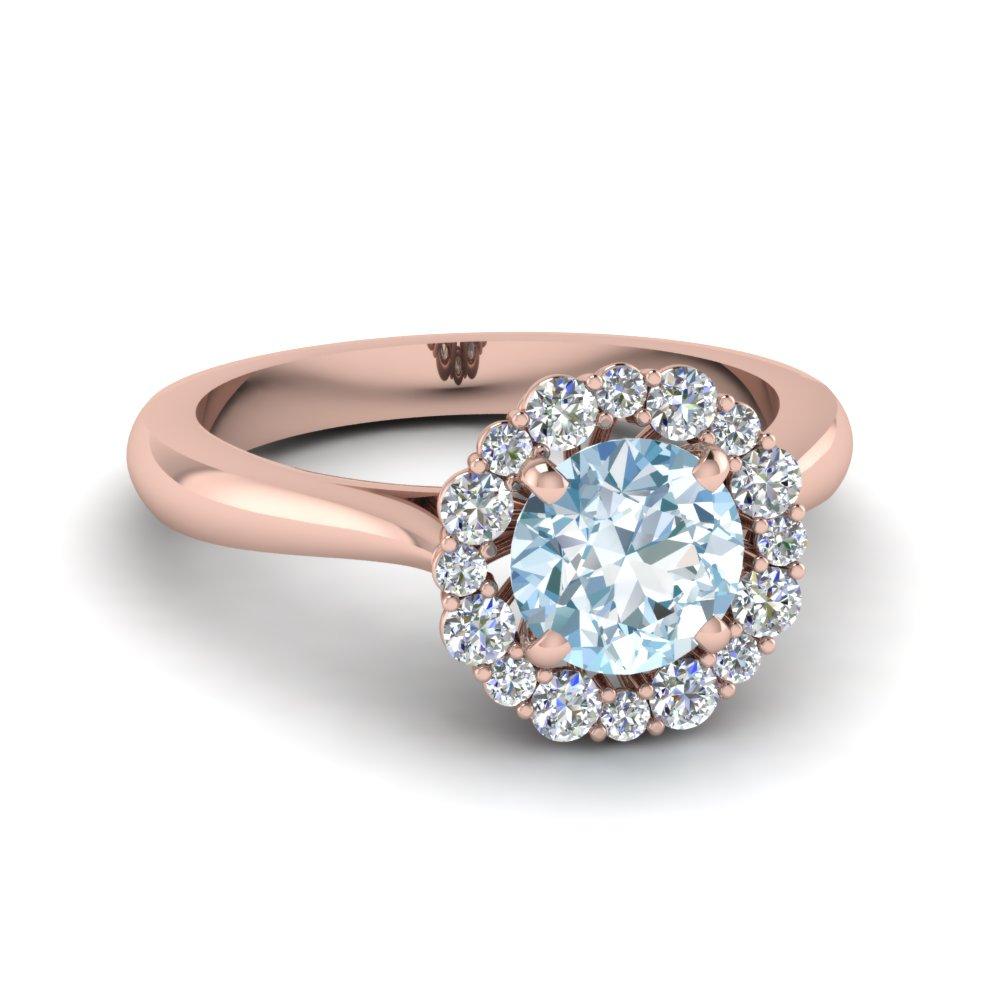 floral halo aquamarine engagement ring in FDENS3206RORGAQ NL RG
