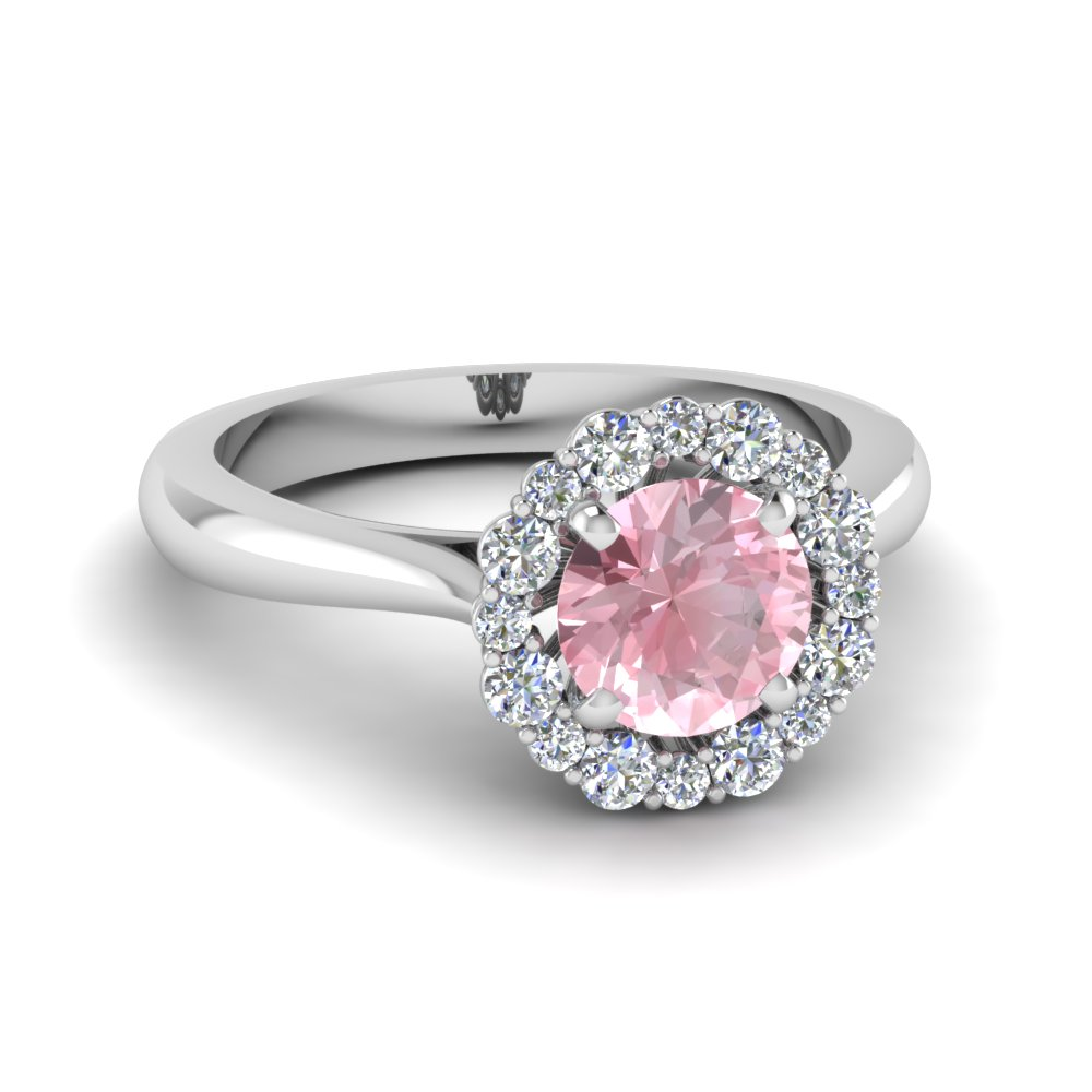 Flower Halo Diamond And Morganite Ring