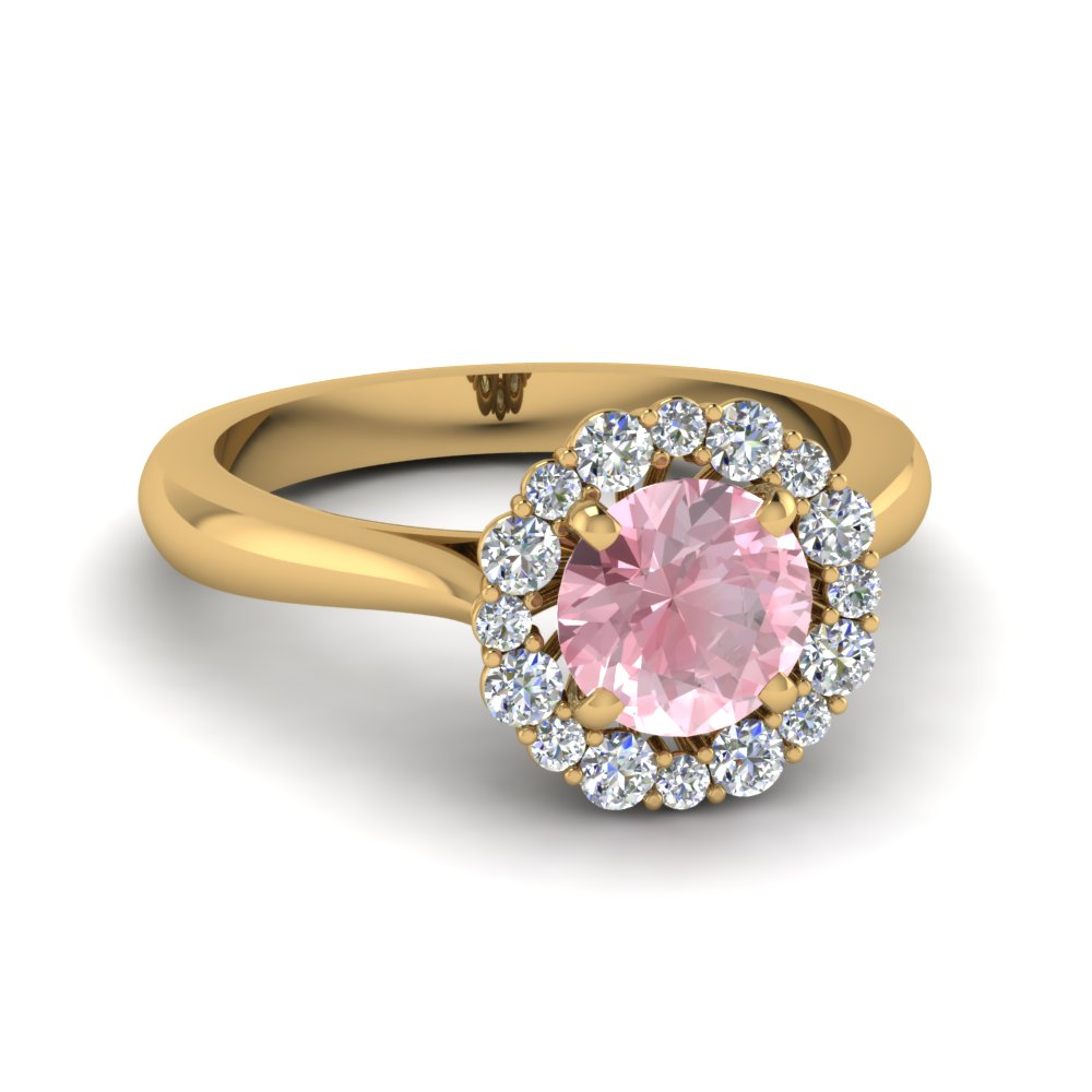 Floral Halo Morganite Stone Ring