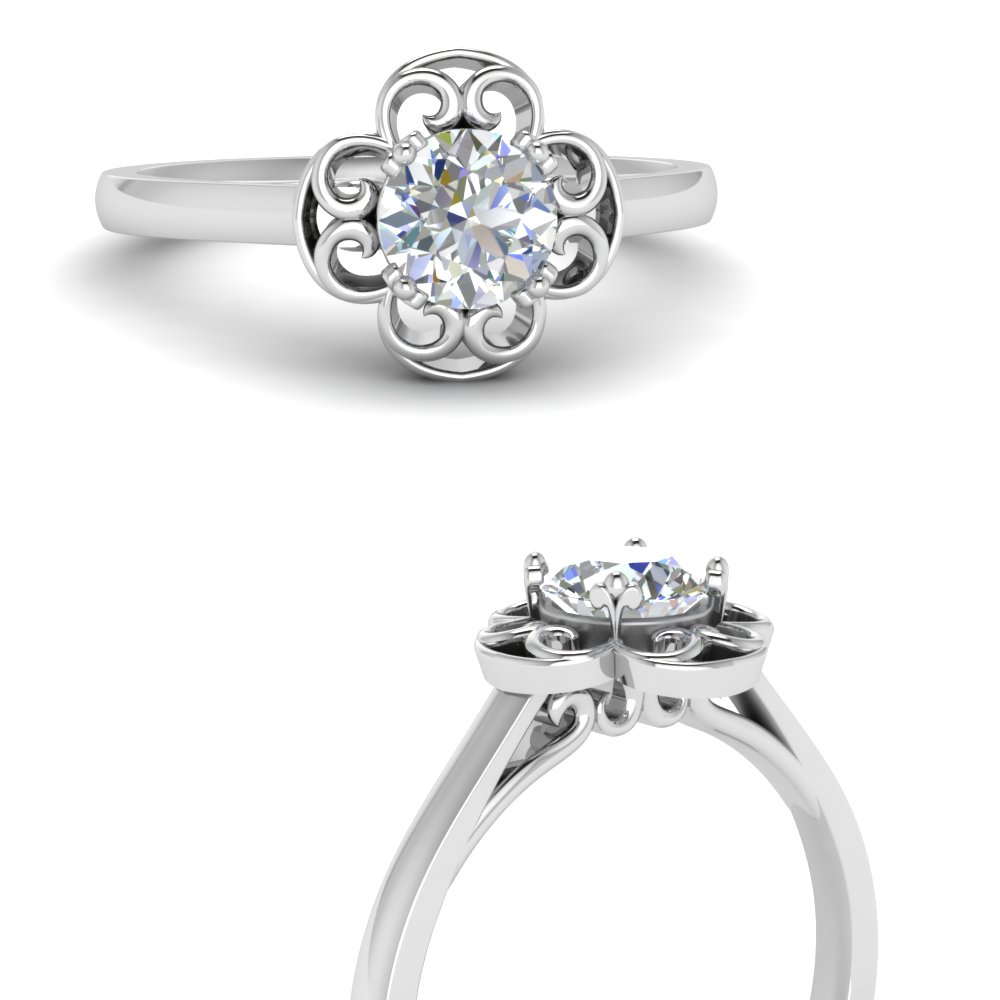 Flower Halo Solitaire Ring
