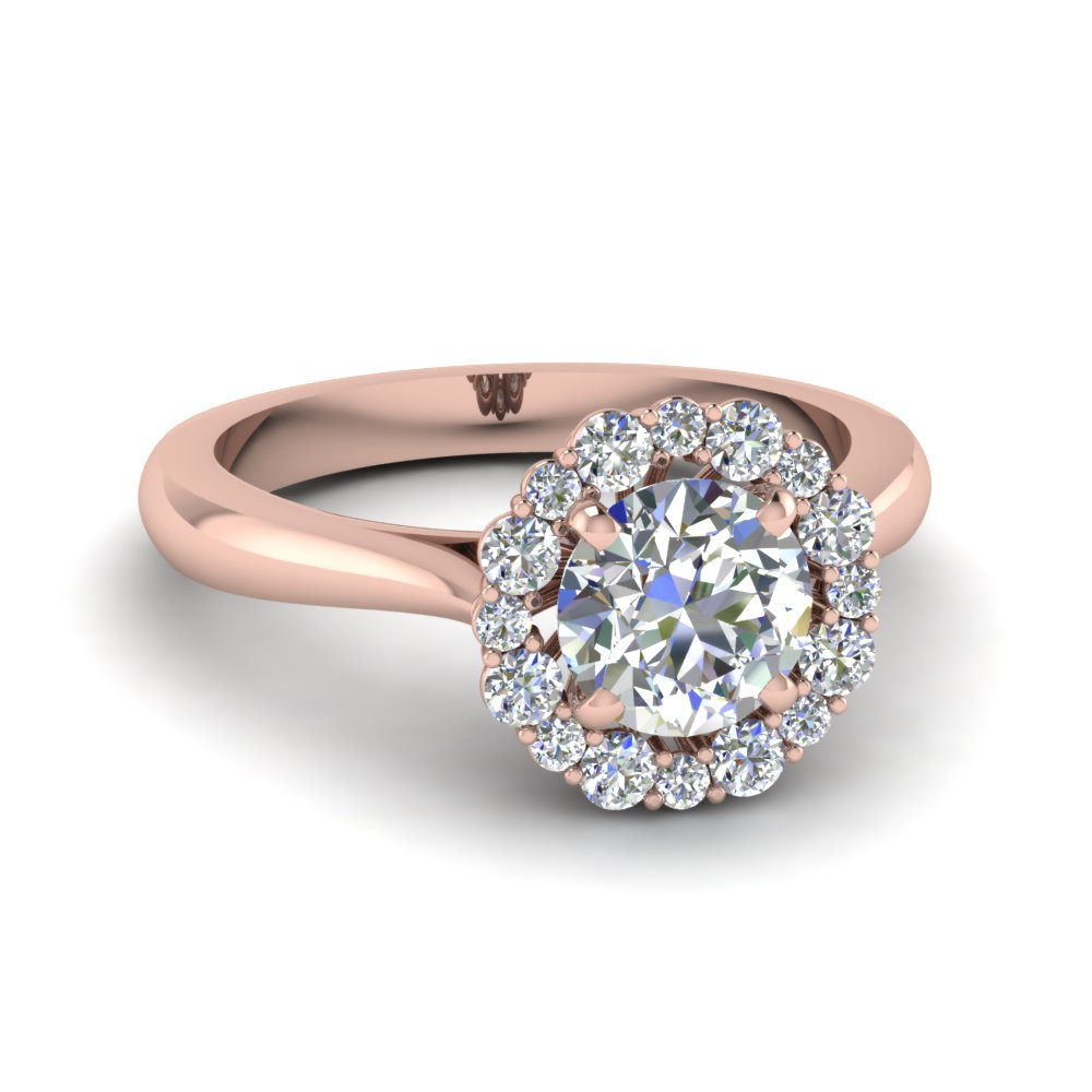 floral halo diamond engagement ring in FDENS3206ROR NL RG