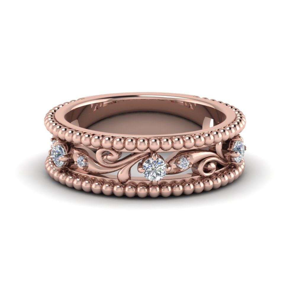 Floral Milgrain Diamond Band In 14K Rose Gold Fascinating Diamonds