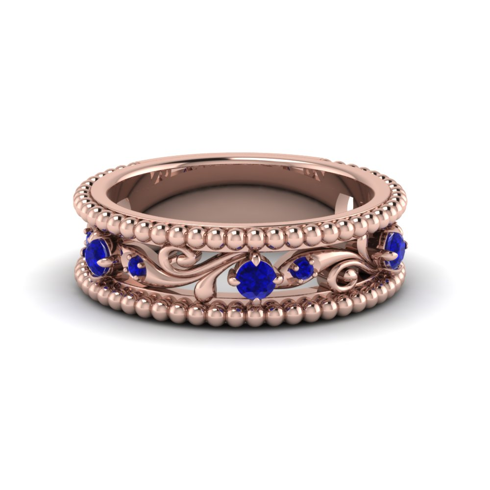 floral milgrain sapphire wedding band in 14K rose gold FD123127BGSABL NL RG