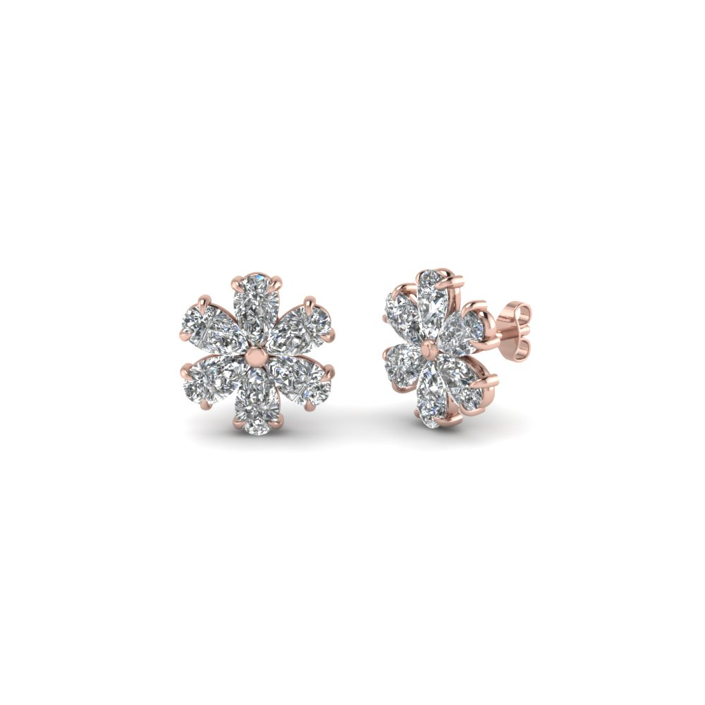 floral pear stud diamond earring for women in 14K rose gold FDEAR8151 NL RG