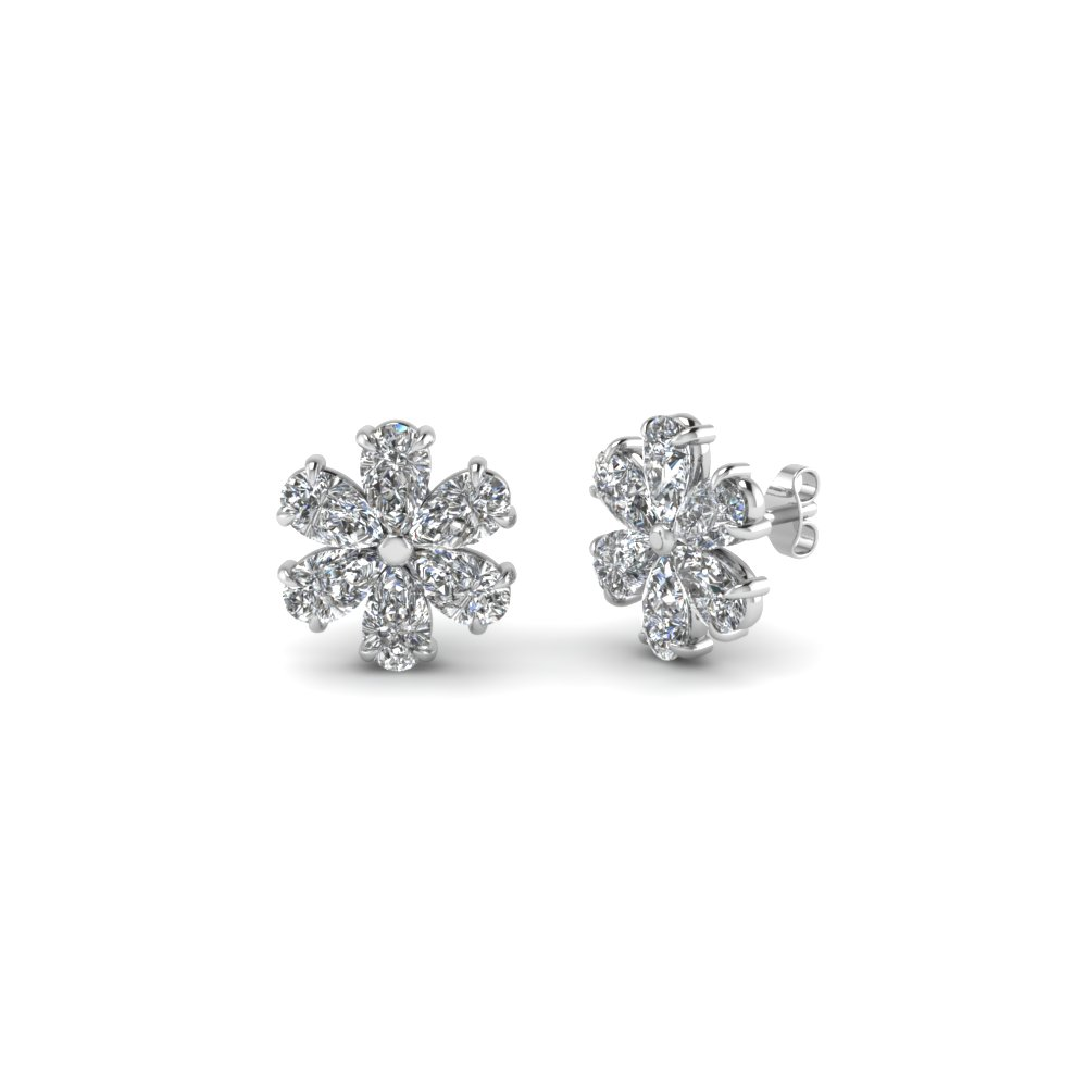 diamond floral pear stud earring for women in 14K white gold FDEAR8151 NL WG
