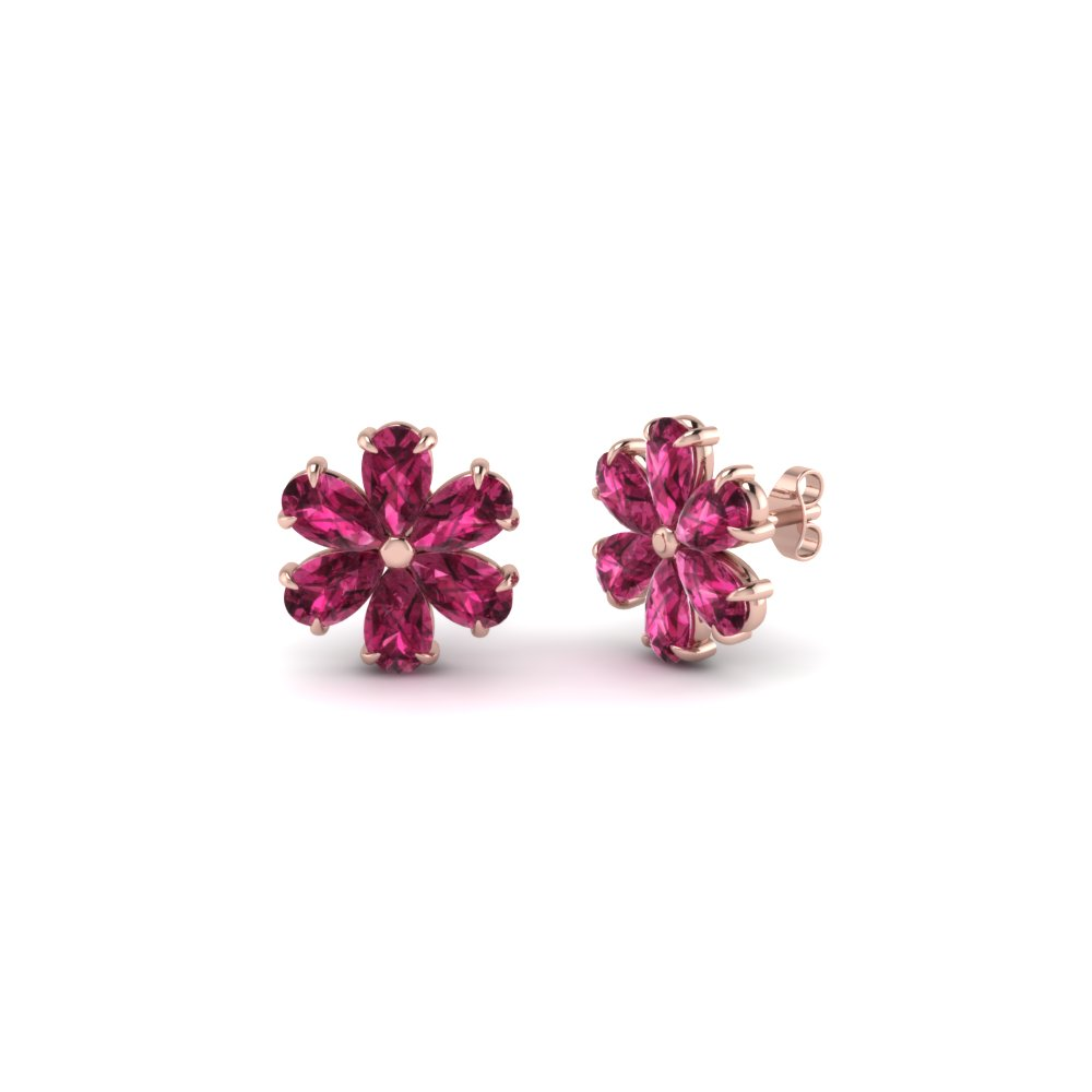 pink sapphire floral pear stud earring for women in 14K rose gold FDEAR8151GSADRPI NL RG
