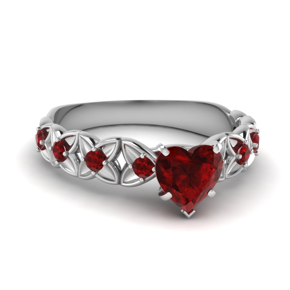 Heart Shaped Ruby Gemtone Engagement Ring