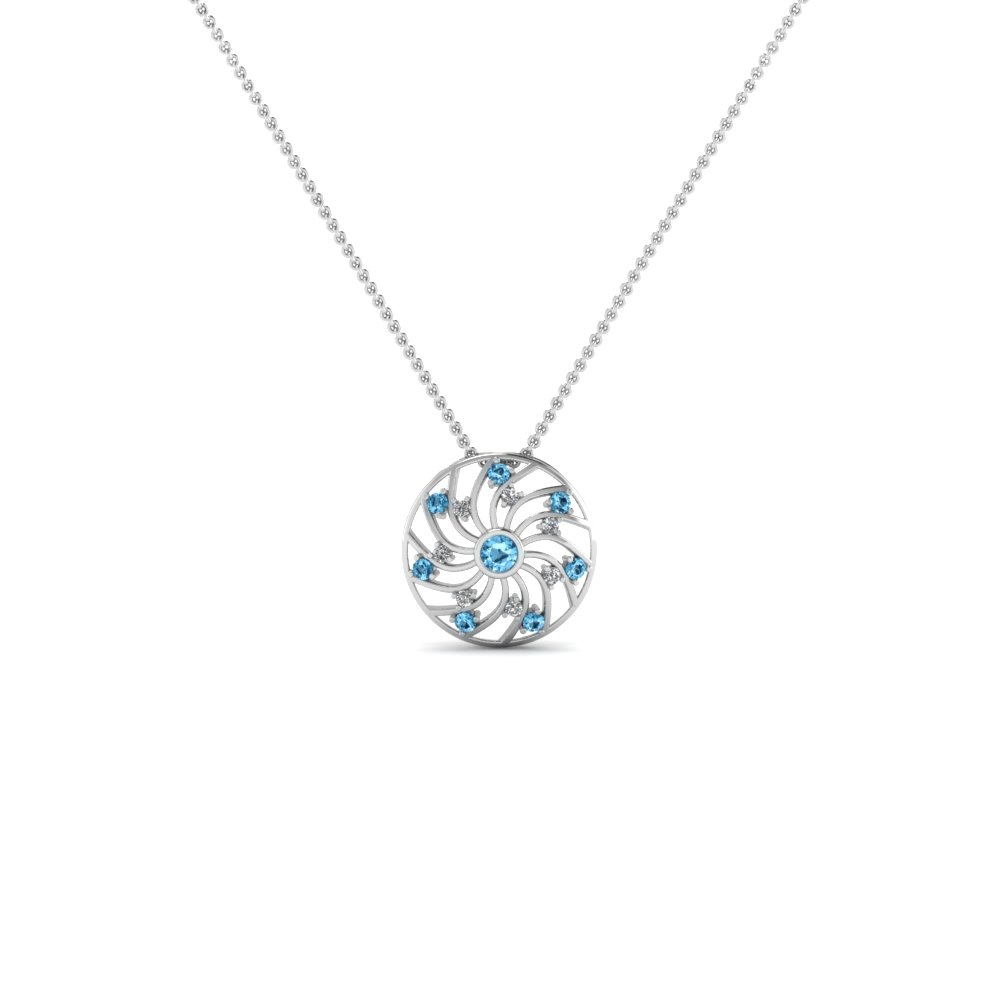 floral round studded diamond pendant necklace with ice blue topaz in FDPD1849GICBLTO NL WG