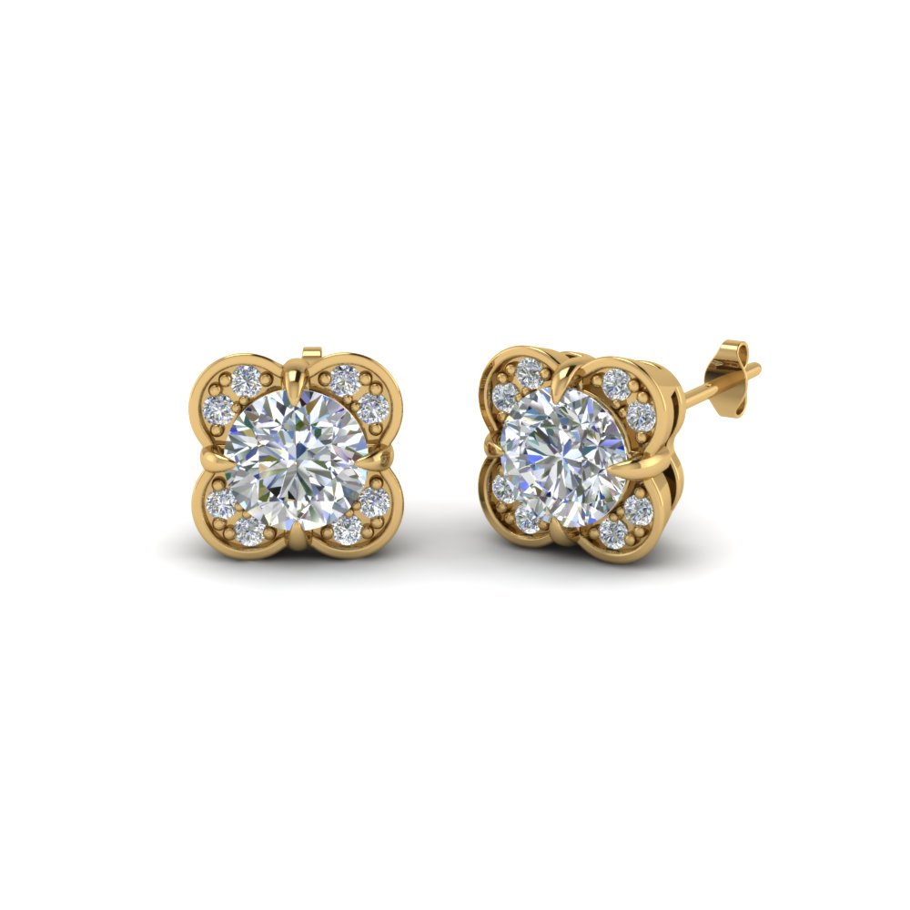 floral stud diamond earring for women in 14K yellow gold FDOEAR40931 NL YG