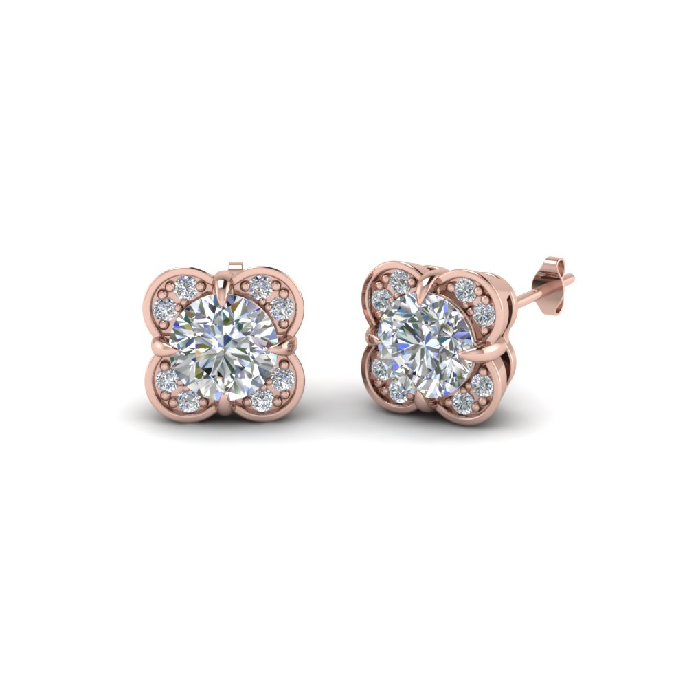 Fl Stud Diamond Earring For Women In 18k Rose Gold Fdoear40931 Nl Rg