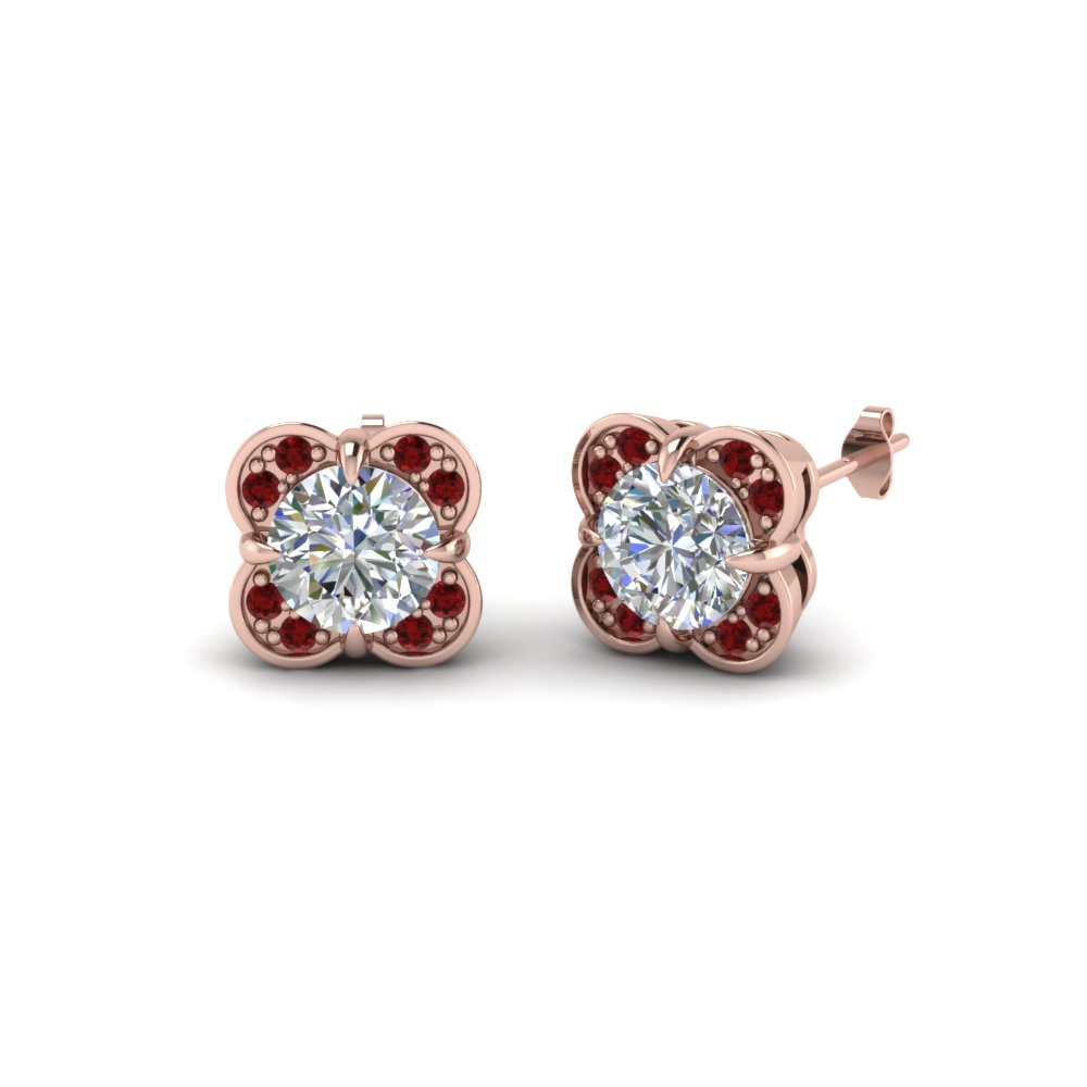 Ruby Stud Diamond Earring