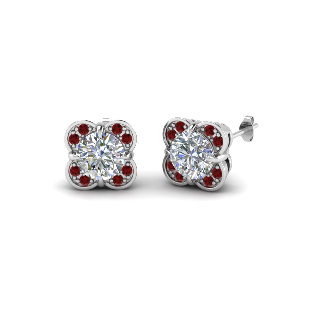 Floral Stud Ruby Earring