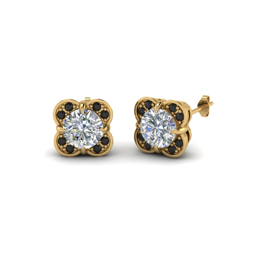 Fl Stud Earring For Women In 14k Yellow Gold Black Diamond Fdoear40931gblack