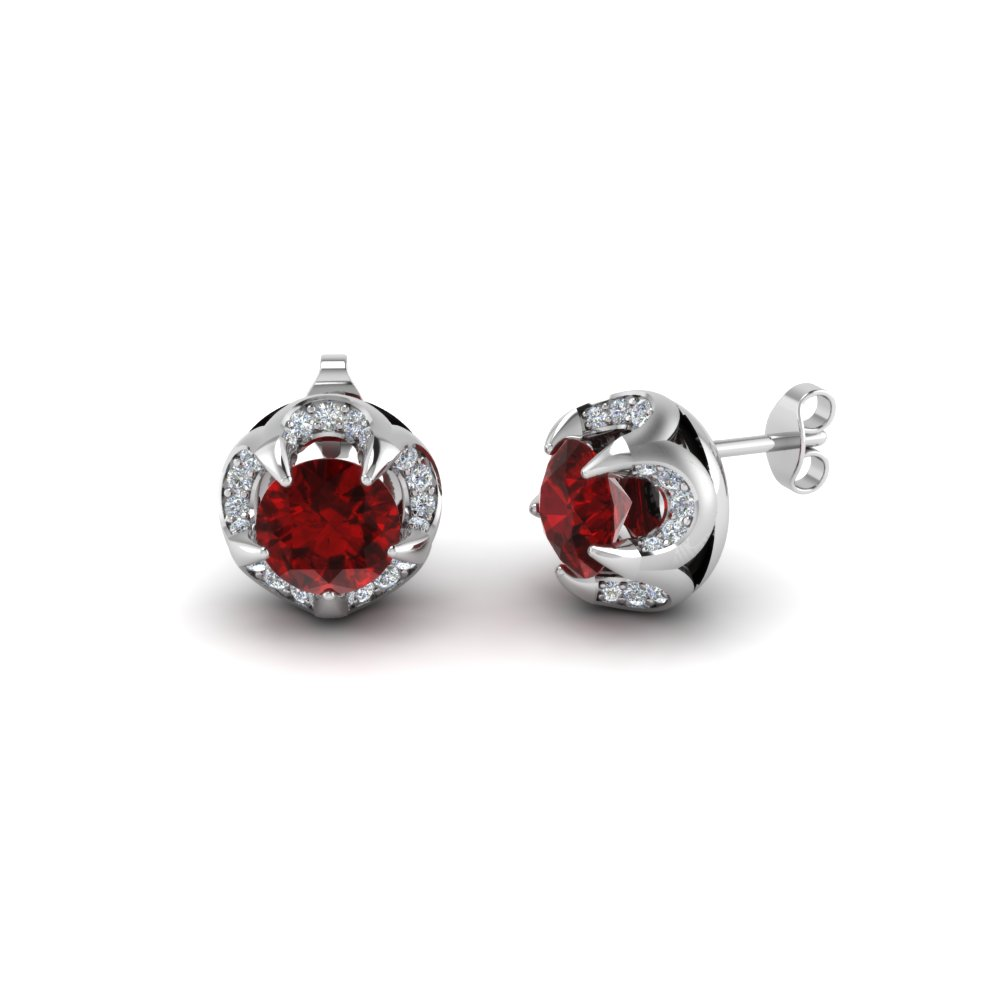 golden diamond earrings milano red with ruby jacket studs