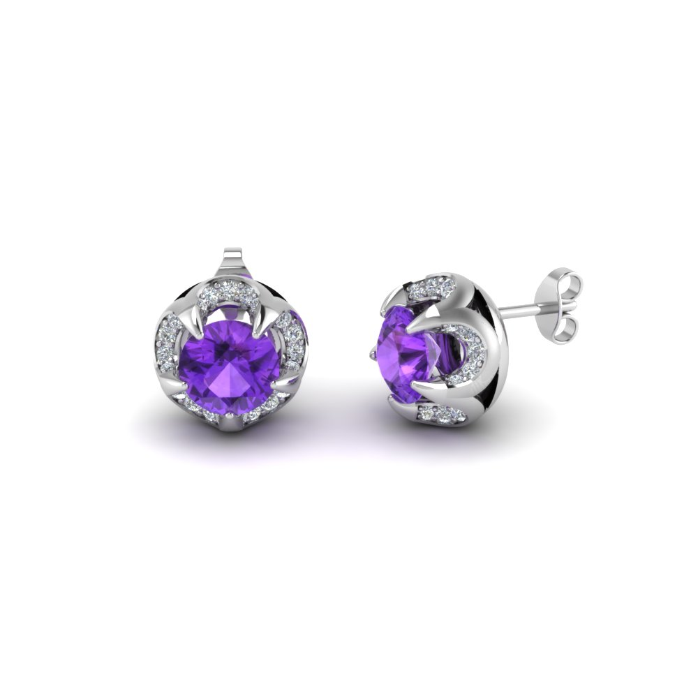 violac floral gemstone style sterling wg halo silver nl jewelry diamond in earrings earring topaz with