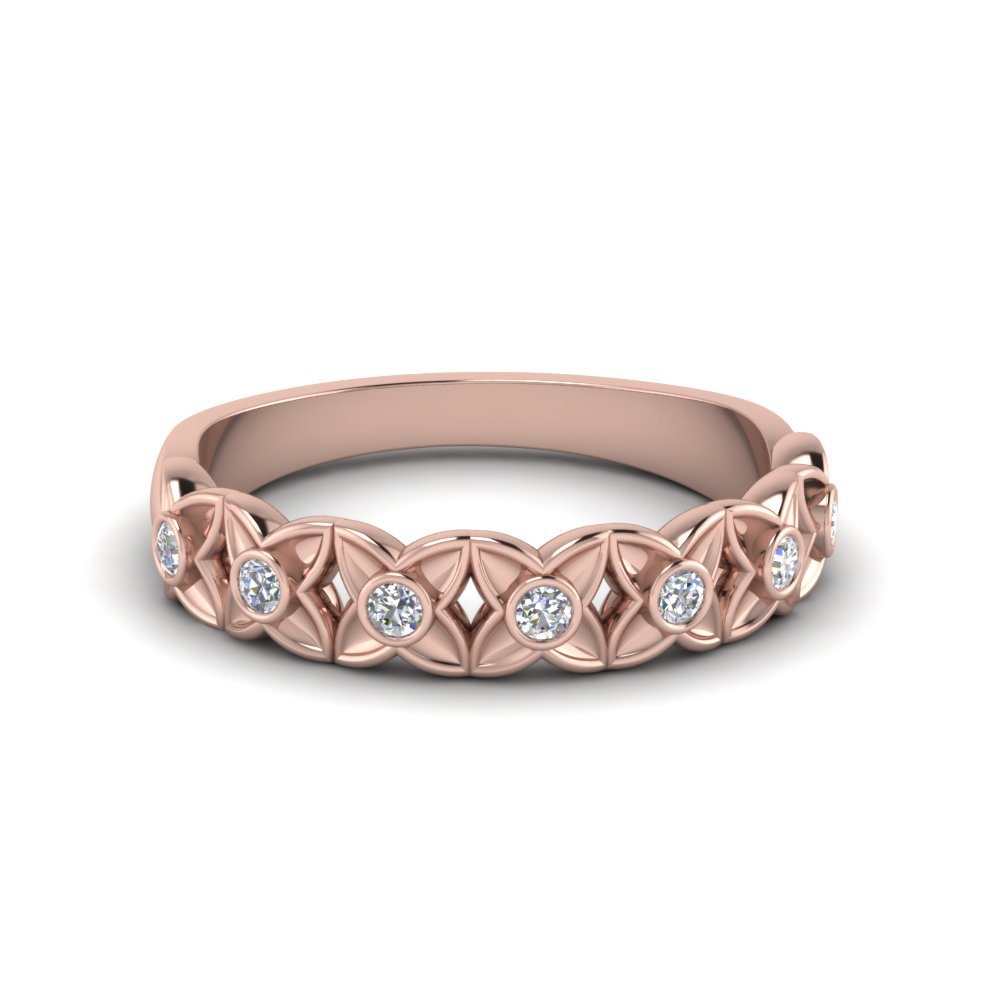 floral diamond wedding band in 14k rose gold | fascinating diamonds
