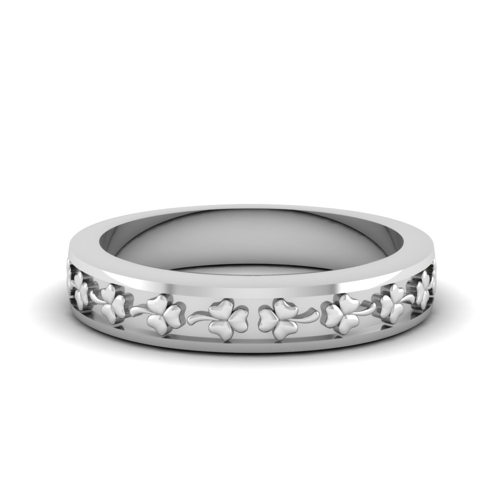 Flower Carved Wedding Band For Women In 14K White Gold