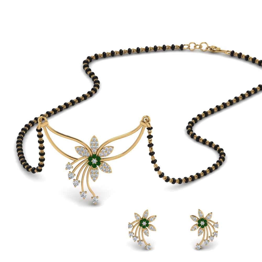 Emerald Mangalsutra With Stud Earring