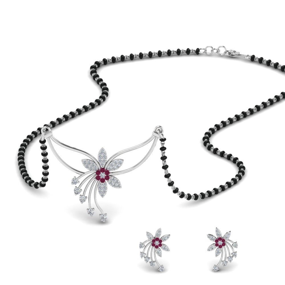 Pink Sapphire Pendant Mangalsutra With Earring