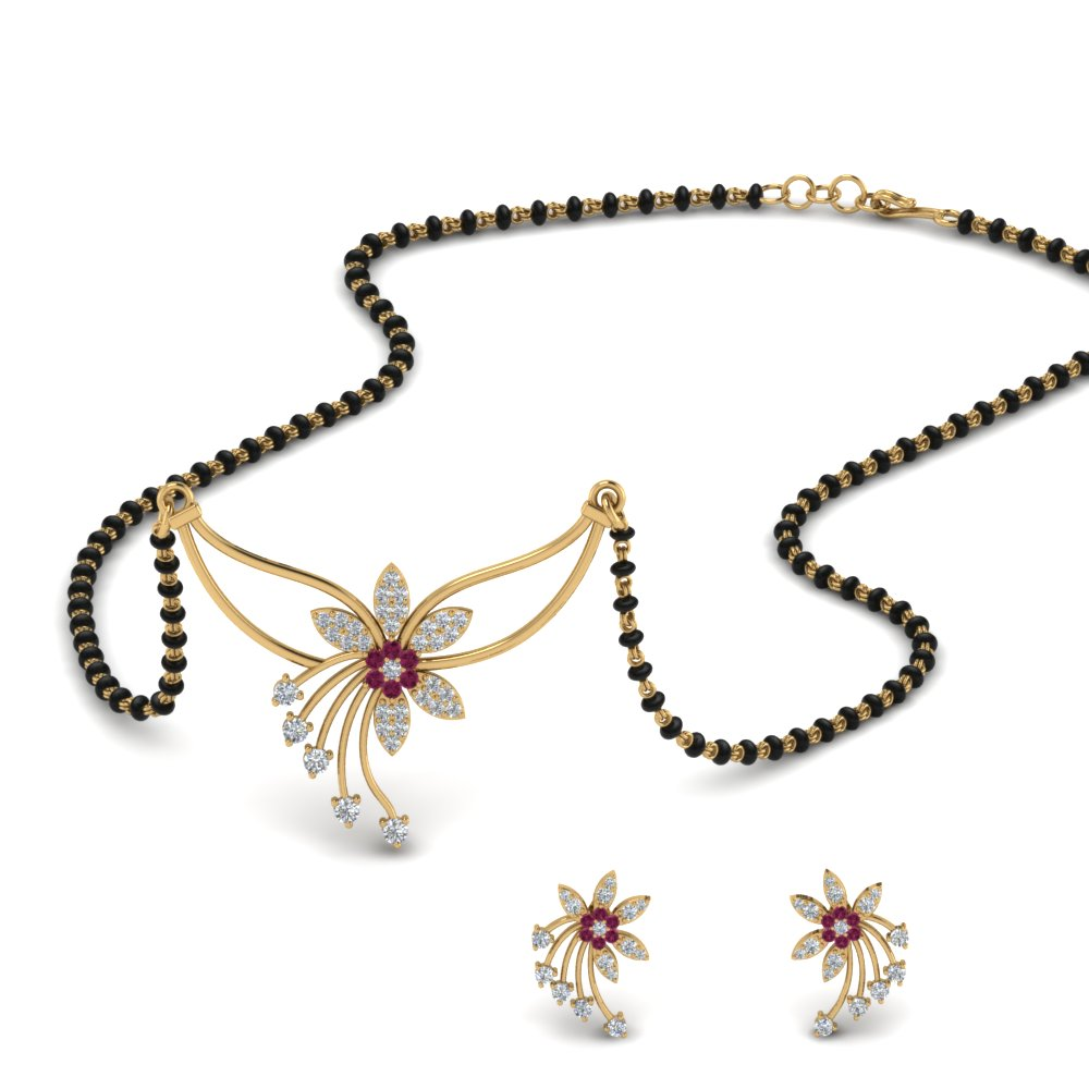 flower-design-diamond-mangalsutra-and-earring-set-with-pink-sapphire-in-MGS9073GSADRPI-NL-YG