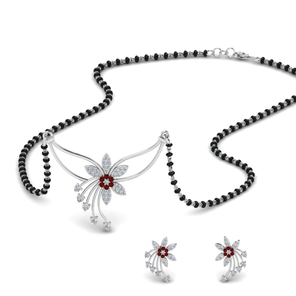 Black Beads Mangalsutra With Ruby Earring