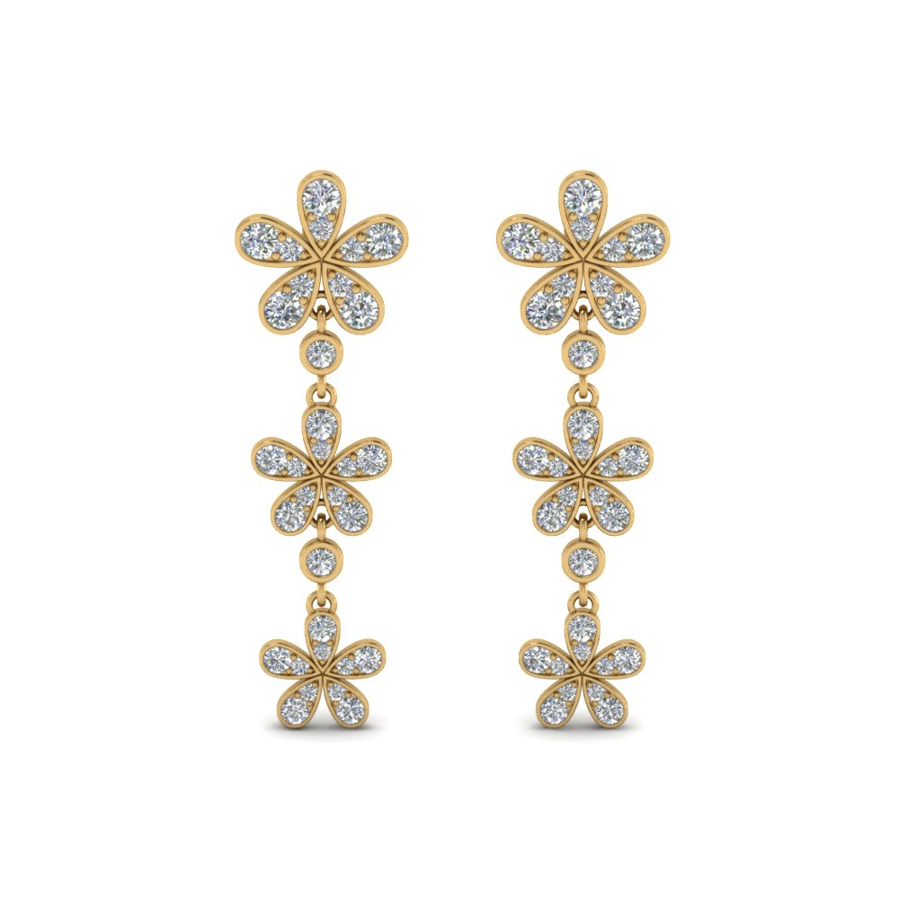 Triple Diamond Drop Earring