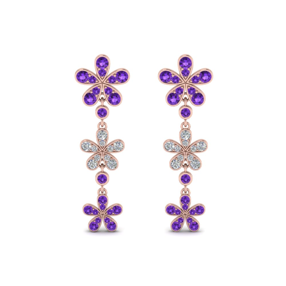 Flower Purple Topaz Drop Earring