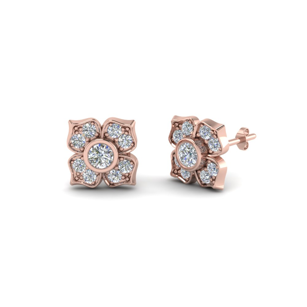 flower diamond stud earring for women in 14K rose gold FDOEAR40248 NL RG