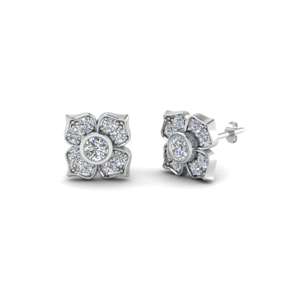 3d518530f flower diamond stud earring for women in 14K white gold FDOEAR40248 NL WG