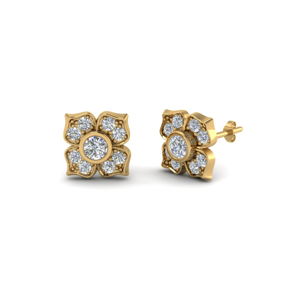 Yellow Gold Four Petal Diamond Stud Earrings