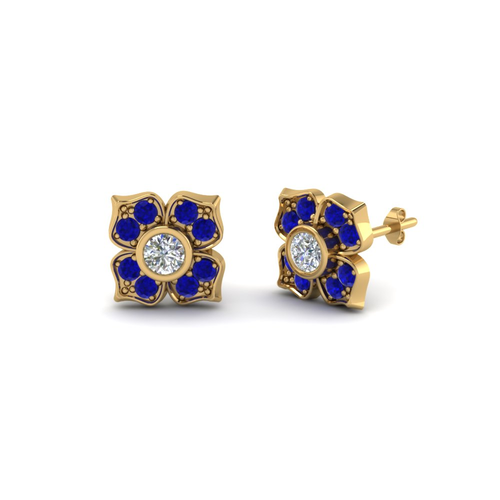 Flower Inspired Stud Earrings With Blue Sapphire
