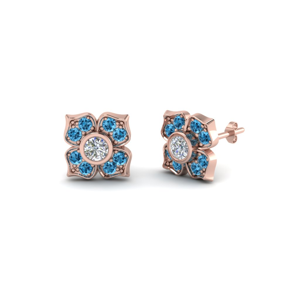 Affordable Flower Style Blue Topaz Stud Earrings