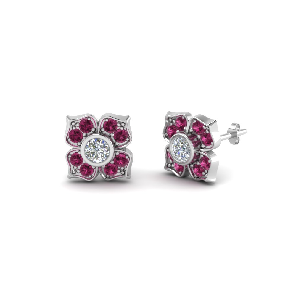 9f2b41cae flower diamond stud earring for women with pink sapphire in 14K white gold  FDOEAR40248GSADRPI NL WG