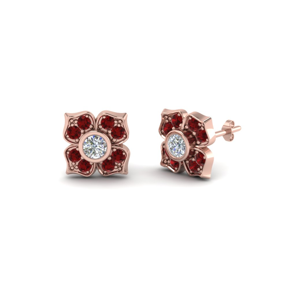 Flower Diamond Stud Earring For Women With Ruby In 14k Rose Gold Fdoear40248grudr Nl Rg