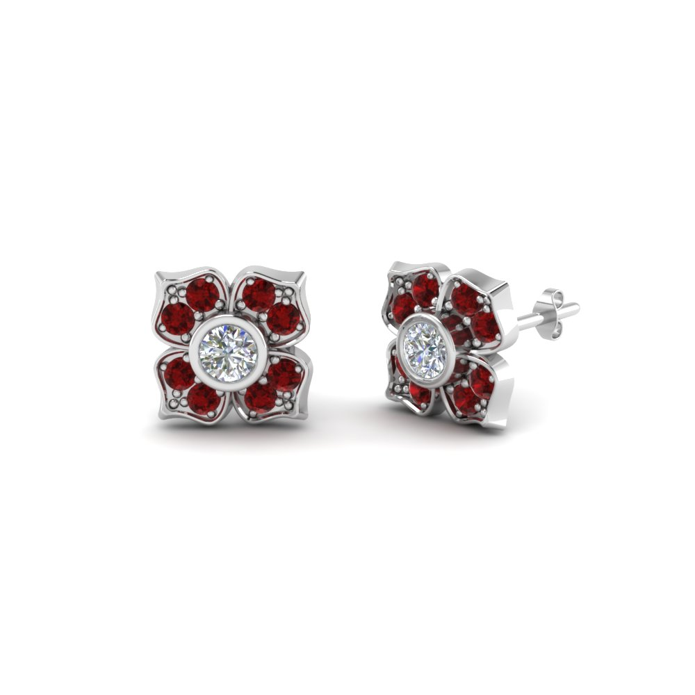 Nature Inspired Affordable Ruby Stud Earrings