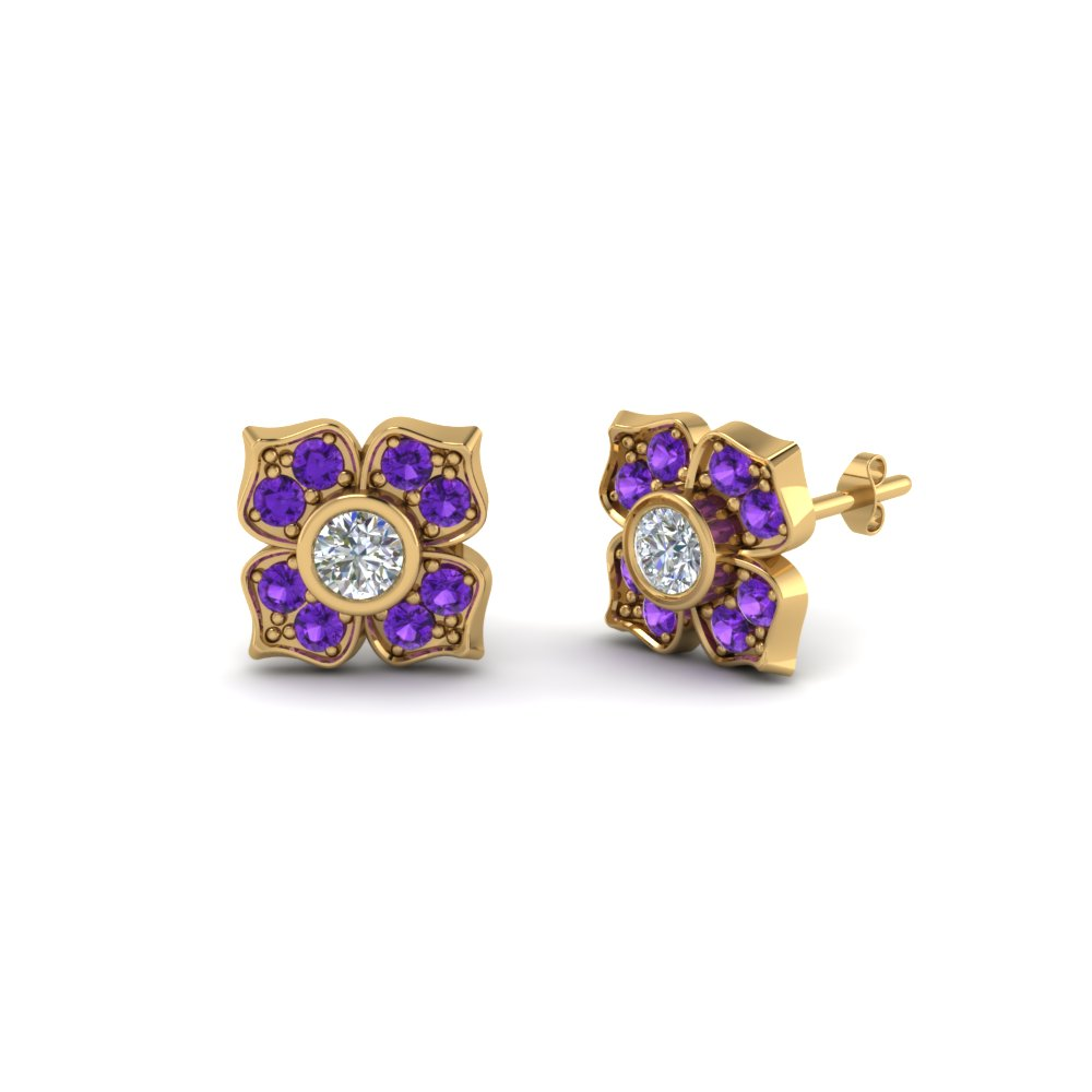 Flower Design Diamond Stud Earrings With Topaz