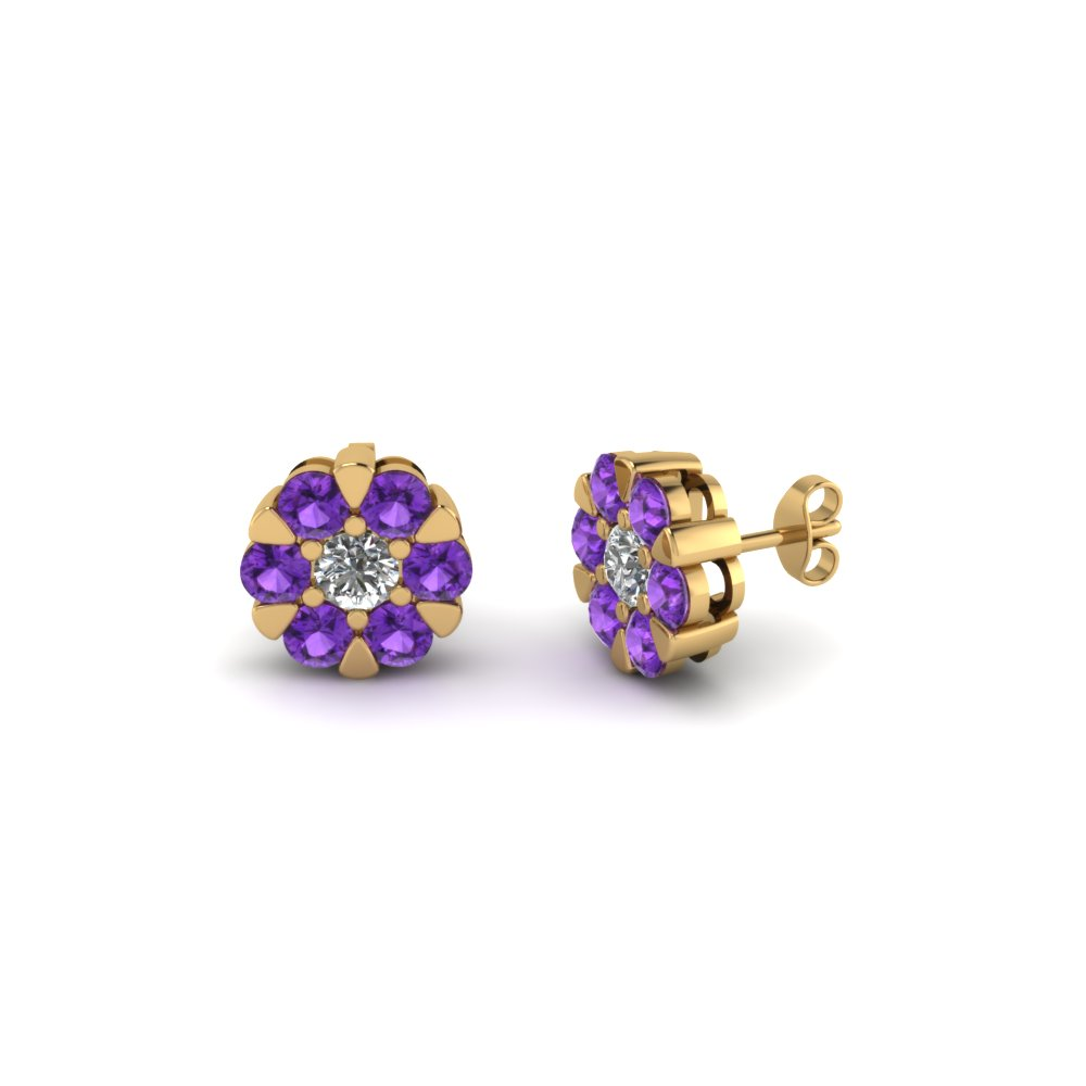 Flower Purple Topaz Stud Earring For Her