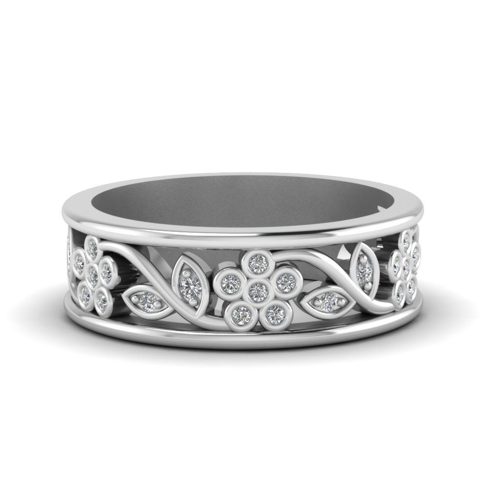 flower diamond wide nature inspired band for women in 18K white gold FD121712B NL WG