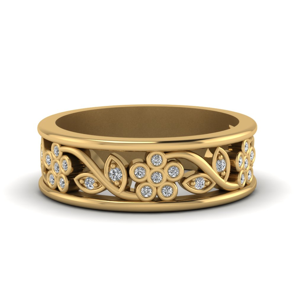 Floral Diamond Gold Womens Band