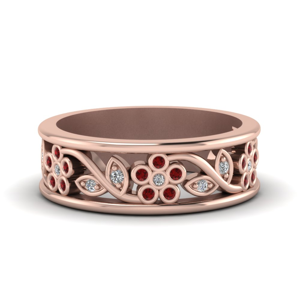 flower diamond wide nature inspired band for women with ruby in 14K rose gold FD121712BGRUDR NL RG