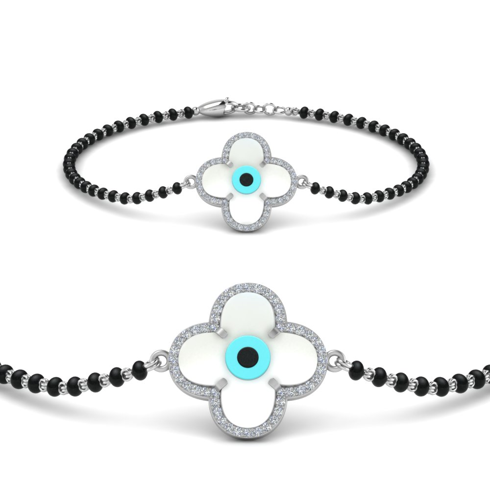 14K White Gold Flower Evil Eye Bracelet Mangalsutra