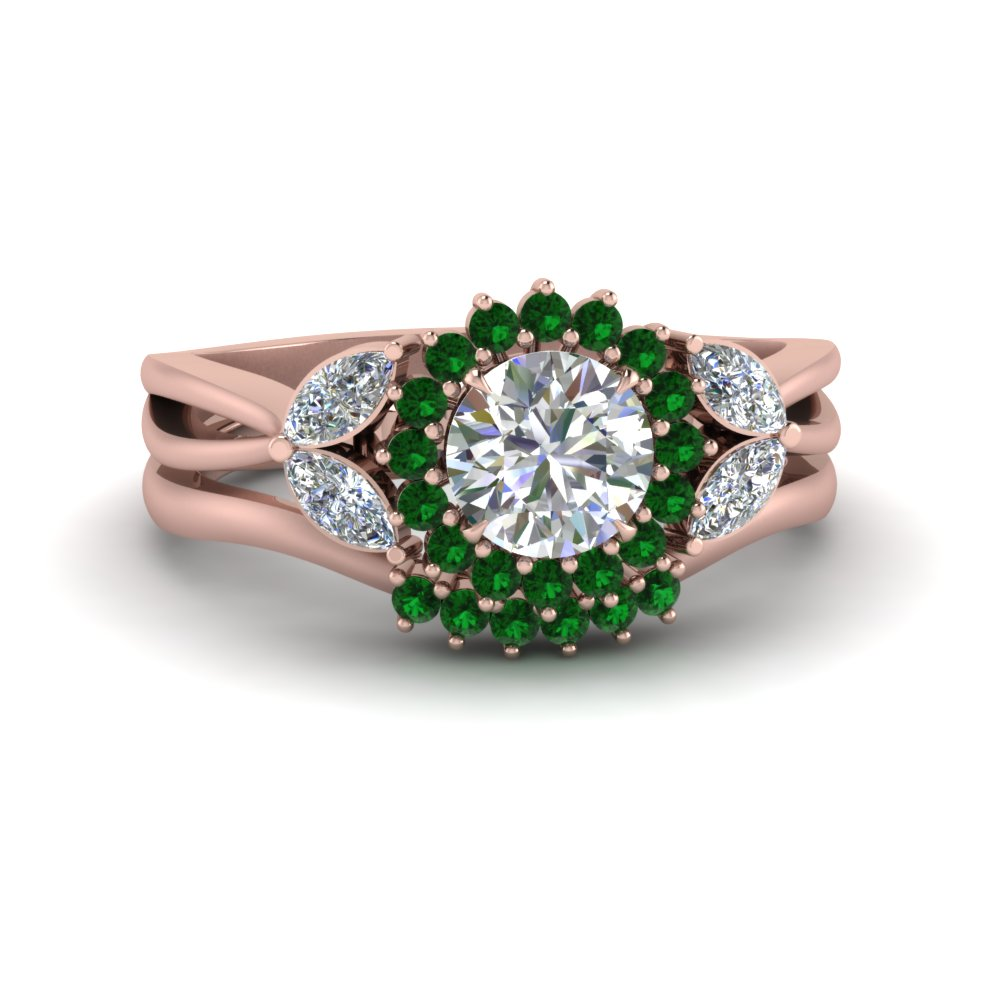 flower-halo-split-shank-diamond-ring-set-with-emerald-in-FD9233ROGEMGR-NL-RG