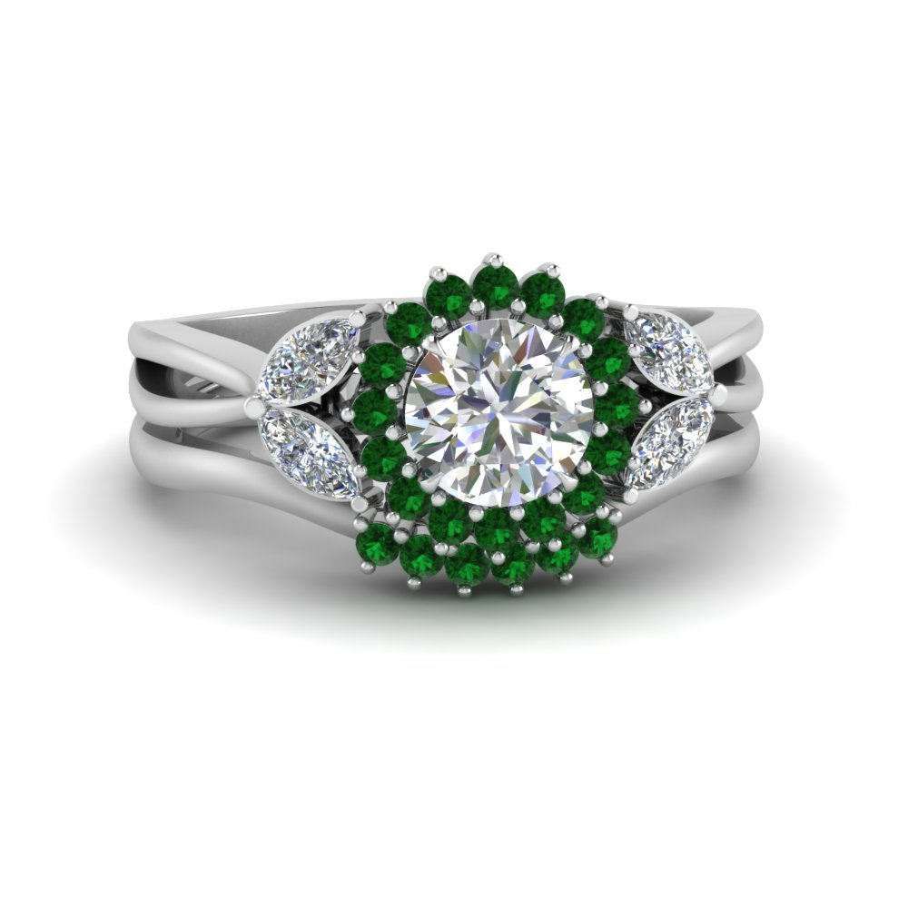 flower-halo-split-shank-diamond-ring-set-with-emerald-in-FD9233ROGEMGR-NL-WG
