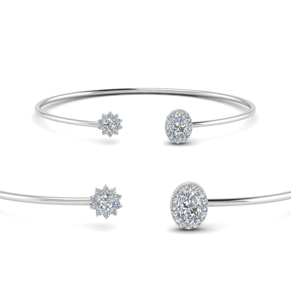 flower open cuff diamond bracelet in 18K white gold FDCMJ2841BANGLE2 NL WG